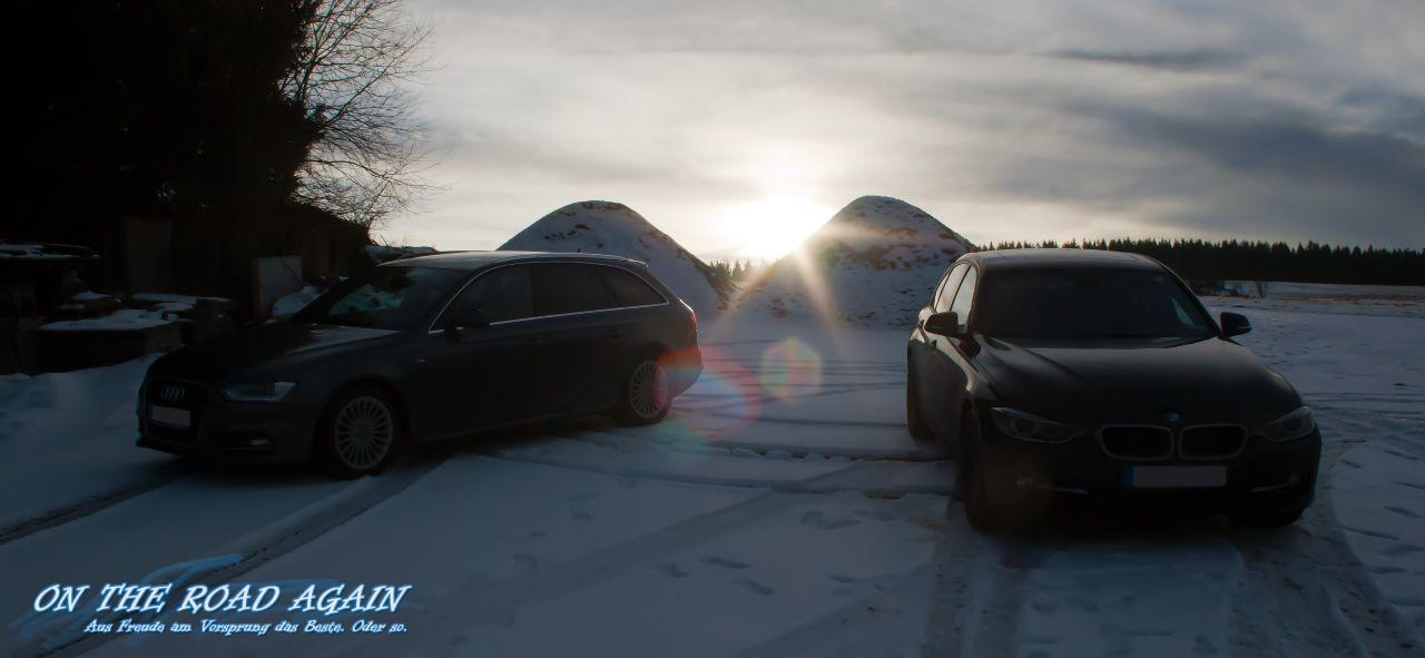 Audi A4 und 3er BMW im Schnee