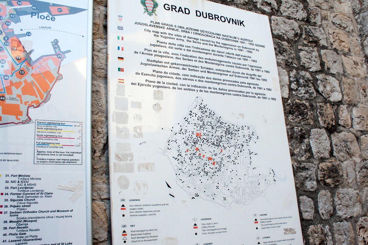 Karte der Zerstörung von Dubrovnik