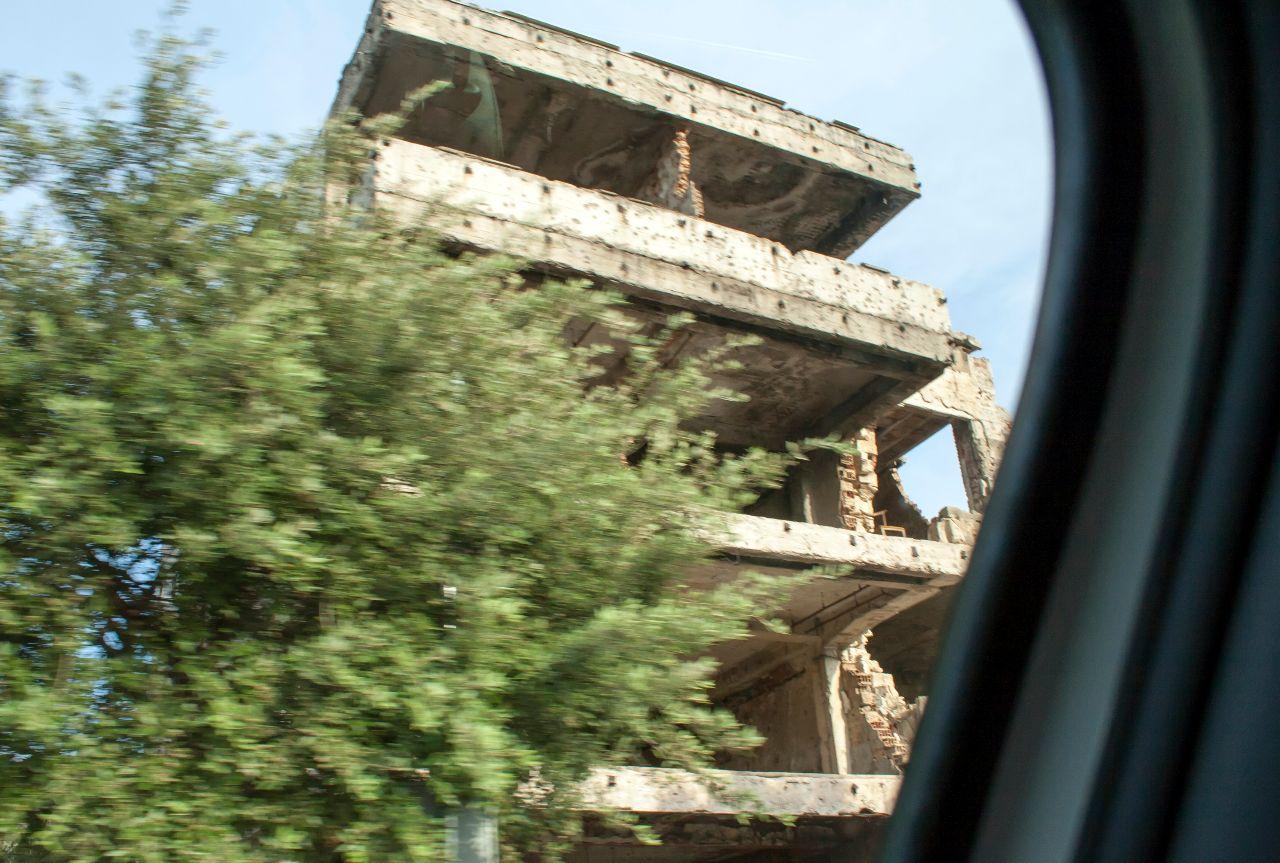 zerstörtes Gebäude in der Innenstadt von Mostar
