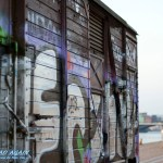 Grafitti am Eisenbahnwagen in Kopenhagen