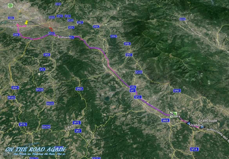 Nach dem Start in Florenz Easter Rallye 2015