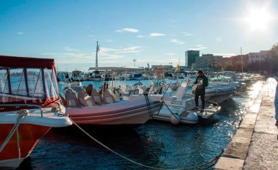Boote im Hafen von Split