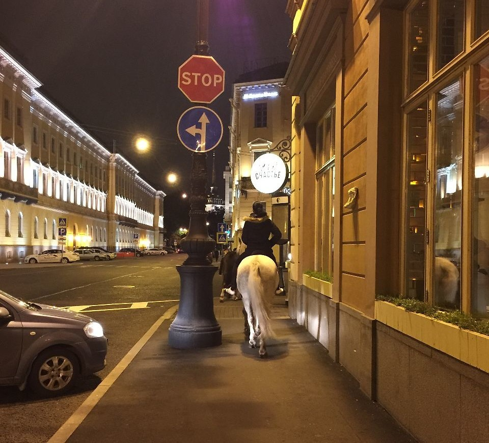 Dont mind me just riding my horse on the sidewalk
