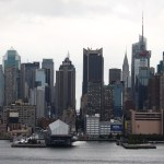 New York Skyline über den Hudson River von New Jersey aus