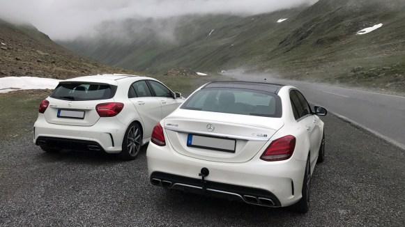Mercedes-Benz C63S AMG und A45 auf Passstraße