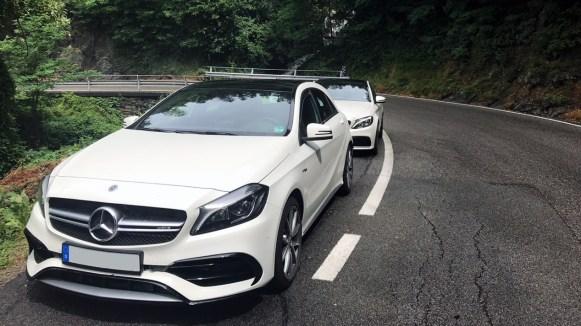Mercedes-Benz C63S AMG und A45 auf nasser Bergstraße