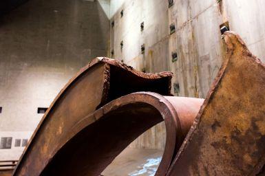 Geschmolenzener Stahlbalken World Trade Center 9 11 Museum New York City