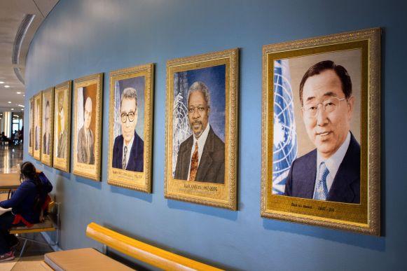 Portraits der Generalsekretäre der Vereinten Nationen
