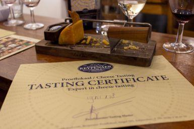 Tasting Certificate von Reypenaer, Amsterdam