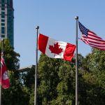Kanadische und Amerikanische Flagge