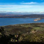 Blick auf Orbetello, Italien vom Monte Argentario aus