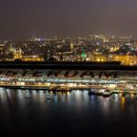 Amsterdam Centraal Station from Adam Lookout Tower at Night