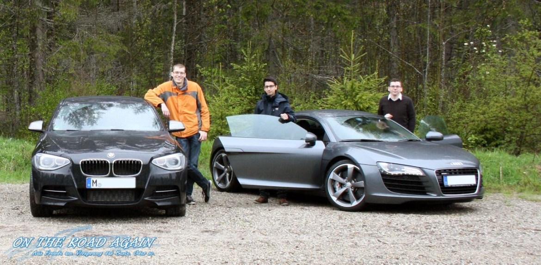Robert mit BMW M135i xDrive und Uwe mit Audi R8