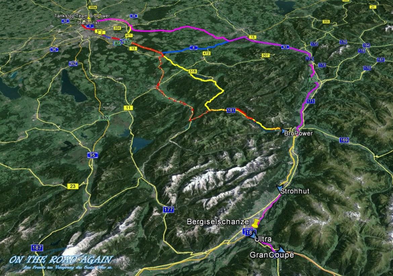 Karte bis nach Österreich