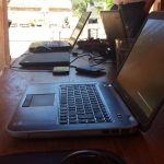 Arbeiten im Freien auf der Terasse