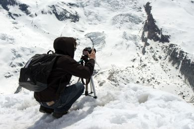 Willy fotografiert am Gornergrat