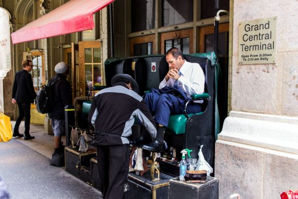 Shoe shine treatment in New York City Grand Central Terminal