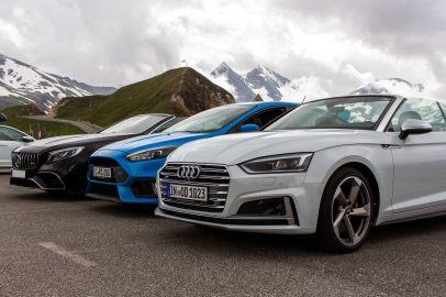 Mercedes Benz S63 AMG, Ford Focus RS und Audi S5 Cabrio am Großglockner
