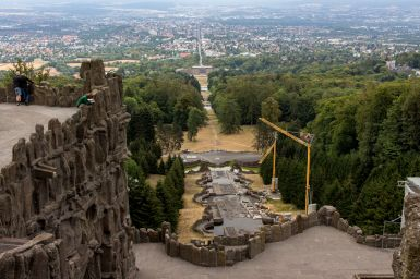 Kaskaden mit Bauabreiten, Bergpark Wilhelmshöhe