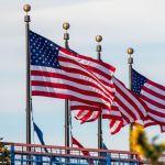 Amerikanische Flaggen in San Francisco