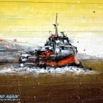 Grafiti Schiff auf Garagentour in Lissabon