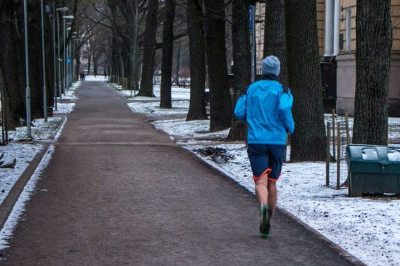 Joggen im Winter Riga