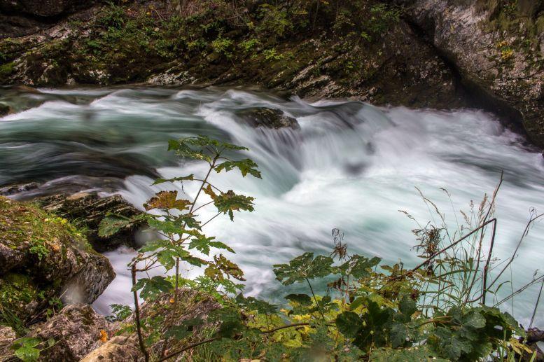 Kleiner Wasserfall in der Vintgar Klam