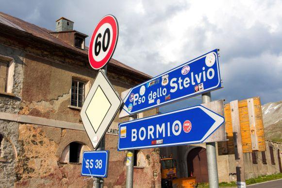 Passo dello Stelviom Bormio Straßenschild